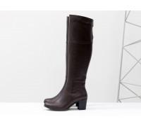 Высокие женские  Сапоги из натуральной кожи бордового цвета, на устойчивом среднем каблуке, с серебряной молнией, Коллекция Осень-Зима, М-123-09