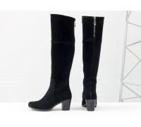 Черные высокие женские сапоги из натуральной замши, на устойчивом среднем каблуке, с серебряной молнией, Коллекция Осень-Зима, М-123-16