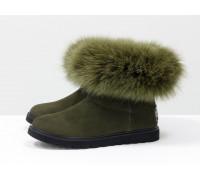 Женские ботиночки в стиле UGG из натуральной матовой кожи темно-зеленого цвета и натурального шикарного меха песца болотного цвета, коллекция Зима, Б-17113-09
