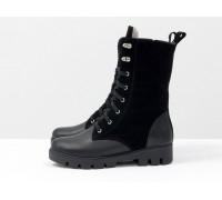 Зимние черные ботинки на шнуровке из натуральной кожи и замши на устойчивой противоскользящей подошве, коллекция Осень-Зима, Б-1960-01