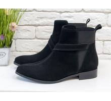 Ботинки свободного одевания темно-серого цвета из натуральной итальянской замши на низком ходу, с широкой черной резинкой, на удобном не высоком каблучке,  Б-17358/1-04