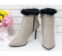 Эксклюзивные женские классические ботинки из натуральной бежевой кожи и меха норки, на высокой шпильке,  Коллекция Весна-Осень,  Б-1724/1-02