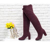 Ботфорты свободного одевания бордового цвета, на невысоком устойчивом каблуке, выполнены из натуральной замши, Коллекция Осень-Зима 2018-2019, М-18127-06