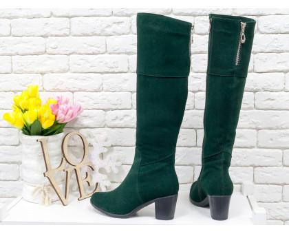 Высокие женские  Сапоги из натуральной замши зеленого цвета, на устойчивом среднем каблуке, с серебряной молнией, Коллекция Осень-Зима, М-123-08