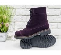 Невероятно-красивые и практичные ботинки на шнуровке из натуральной замши сливового цвета, на устойчивой утолщенной подошве черного цвета,  Б-16081-16