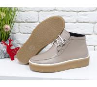 Стильные женские ботинки из натуральной кожи бежевого цвета на шнуровке, в стиле Chukka Boots, на удобной прорезиненной подошве бежевого цвета с белым кантом, Коллекция Осень-Зима 2017-2018, Б-17111-04