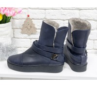 Спортивные Ботинки с меховым утеплителем, из натуральной матовой кожи темно-синего цвета, на утолщенной прорезиненной подошве черного цвета, Б-17081-05
