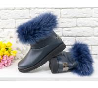 Женские ботиночки в стиле UGG из натуральной кожи флотар темно-синего цвета и натурального шикарного меха песца, коллекция Зима , Б-17113-08