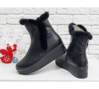Классические высокие ботинки женские из натуральной кожи черного цвета со вставкой из натуральной норки, на удобной не высокой танкетке, Коллекция Осень-Зима, Б-17123-02
