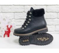 Шикарные кожаные ботинки на шнуровке в черном цвете, верх украшен мехом цигейки в тон, яркая фурнитура с камнями, высокая прорезиненная подошва с отстрочкой по канту, Коллекция Осень-Зима 2018-2019 от ТМ Джино Фиджини, Б-1817-02
