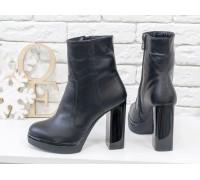 Классические черные кожаные ботинки на высоком глянцевом каблуке, от ТМ Джино Фиджини, Б-1710