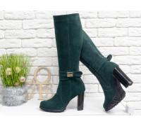 Сапоги на каблуке из натуральной замши шикарного зеленого цвета, Коллекция осень-зима, М-422