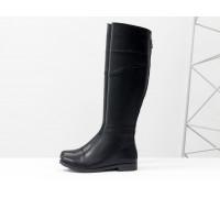 Сапоги-ботфорты из натуральной кожи черного цвета, на классическом невысоком каблуке, Коллекция Осень-Зима, М-111-04