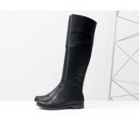 Высокие сапоги из натуральной кожи черного цвета, на классическом невысоком каблуке, Коллекция Осень-Зима, М-111-34