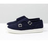 Туфли из натуральной итальянской темно синей замши с металлическими пряжками на белой подошве, Коллекция Весна-Осень, Т-1669-01