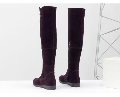 Высокие Ботфорты на узкую ногу, из натуральной замши темно-бордового цвета на удобном низком ходу, Коллекция Осень-Зима, М-1670-14