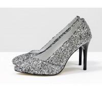 Туфли-лодочки на шпильке из натуральной кожи и блестящей крошки серебряного цвета, Т-1701-12