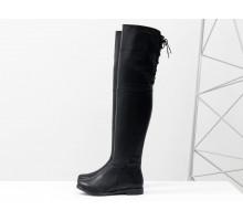 Высокие ботфорты из натуральной гладкой кожи черного цвета на низком ходу со шнуровкой, Новая коллекция Осень-Зима от Джино Фиджини, М-17084-12