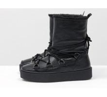 Распродажа! Зимние высокие ботиночки Луноходы в стиле Moon Boot из натуральной кожи флотар черного цвета, на прорезиненной утолщенной подошве, Коллекция Осень-Зима , Б-17112-04 акция