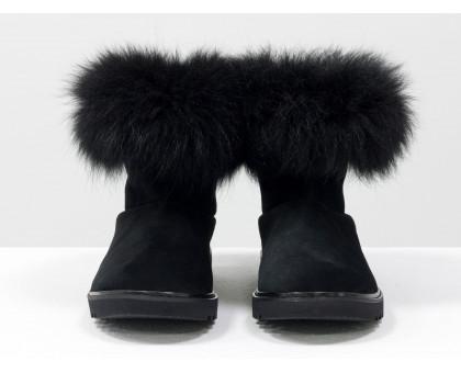 Женские ботиночки в стиле UGG из натуральной замши черного цвета и натурального шикарного меха песца, Коллекция Осень-Зима, Б-17113-03