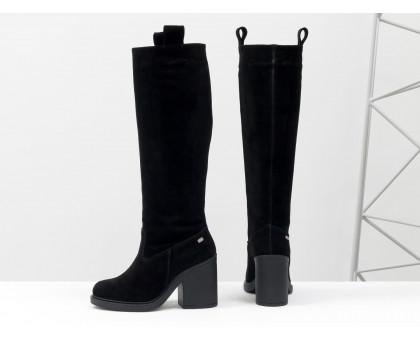 Высокие Сапоги свободного одевания из натуральной замши насыщенного черного цвета, на устойчивом каблуке,  М-17356-05