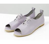 Невероятно легкие туфли с открытым носиком из натуральной кожи нежно лилового мерцающего цвета на светлой эластичной подошве, Т-17415-05