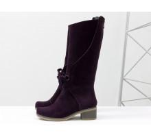 Стильные женские сапоги из натуральной замши бордово-фиолетового цвета, на удобном невысоком каблуке и нескользкой подошве,  ТМ Gino Figini М-17500-11