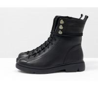 Модные ботинки на шнуровке в черной гладкой коже  на утолщенной противоскользящей подошве, Новая коллекция от Джино Фиджини, Б-1824-04