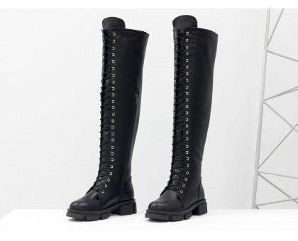 Ботфорты - чулки на шнуровке из натуральной гладкой лицевой черной кожи на современной тракторной подошве, М-19123-04