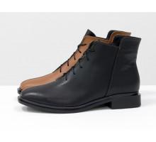 Уникальные дизайнерские ботинки рыжего и черного цвета из итальянской натуральной кожи, на модной подошве с квадратными элементами. Современная классика от Джино Фиджини,  Б-19142-22