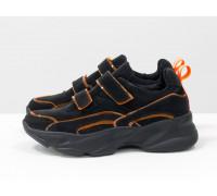 Яркие неоновые кроссовки на липучках от Gino Figini из натуральной бархатной кожи черного цвета с оранжевыми вставками силикона по канту, на пружинистой вспененной подошве черного цвета, Т-19149-01