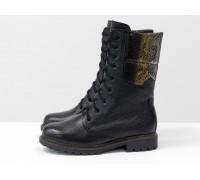 """Высокие женские ботинки из натуральной кожи-флотар черно цвета со вставками из натуральной кожи с рисунком """"рептилия"""", на шнурках на утолщенной подошве, Б-44-03"""