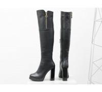 Ботфорты на высоком устойчивом каблуке из натуральной кожи черного цвета, М-16073-05