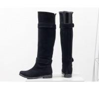 Ботфорты свободного одевания на низком ходу из натуральной замши черного цвета, Коллекция Осень-Зима, М-16079-02