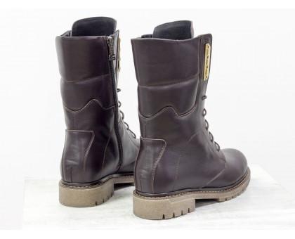Ботинки из натуральной кожи коричневого цвета, на шнурке и на утолщенной подошве бежевого цвета, Коллекция Осень-Зима, Б-44-06