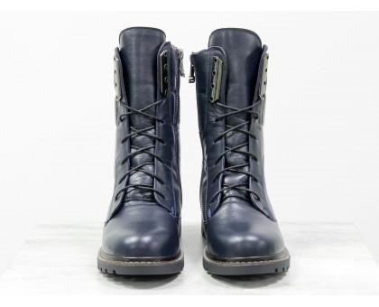 Ботинки из натуральной кожи синего цвета, на шнурке и на утолщенной подошве черного цвета с ярким кантом, Коллекция Осень-Зима, Б-44-11