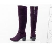 Высокие женские  Сапоги из натуральной замши сливового цвета, на устойчивом среднем каблуке, с серебряной молнией, Новая Коллекция Осень-Зима от Джино Фиджини, М-123-15