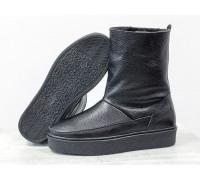 Зимние высокие ботиночки из натуральной кожи флотар черного цвета, на прорезиненной утолщенной подошве, Коллекция Осень-Зима , Б-17112-05