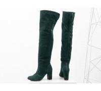 Ботфорты свободного одевания на невысоком устойчивом каблуке, выполнены из натуральной замши насыщенного зеленого цвета, Коллекция Осень-Зима 2018-2019, М-18127-16