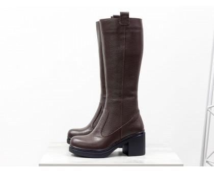 Сапоги женские из натуральной кожи-флотар коричневого цвета на молнии на устойчивом не высоком каблуке, Коллекция Осень-Зима, М-16072-02