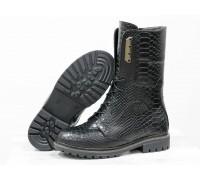 """Высокие женские Ботинки из натуральной кожи черного цвета с объемной текстурой """"питон"""", на шнурках на утолщенной подошве, Б-44-04"""