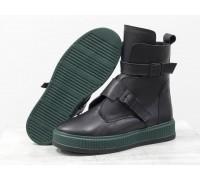 Женские черные кожаные Ботинки с ремнями на каждый день, выполнены на прорезиненной зеленой подошве, коллекция Осень-Зима, Б-17460-03