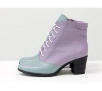 Светлые ботиночки со шнуровкой в стиле Джейн Эйр, на невысоком каблуке, из натуральной кожи голубого и сиреневого цвета,  Б-157-22