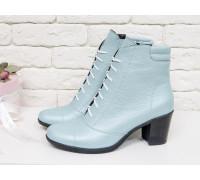 Эксклюзивные  Ботиночки со шнуровкой на не высоком каблуке, из натуральной кожи-флотар мятно-голубого цвета, с перламутровым напылением,  Б-157-07
