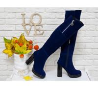 Ботфорты на высоком глянцевом каблуке, выполнены из натуральной замши насыщенного синего цвета, Коллекция осень-зима, М-16073-02