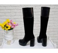 Высокие сапоги из натуральной кожи и замши черного цвета на молнии  на устойчивом каблуке, Коллекция Осень-Зима, М-16076-01