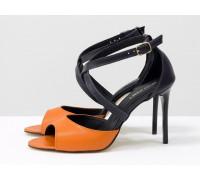 Стильные босоножки с открытым носиком из натуральной кожи оранжевого и фиолетового цвета, на каблуке-шпильке, С-17043-03