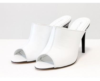 Сабо с открытым носиком из натуральной кожи белого цвета на каблуке-шпилька, С-700-03