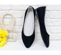 Туфли-лодочки на низком хожу, замшевые черного цвета с удлиненным носиком, Т-413-39