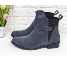 Ботинки свободного одевания темно-серого цвета из натуральной итальянской замши на низком ходу, с широкой черной резинкой, на удобном не высоком каблучке,  Б-17358/1-03